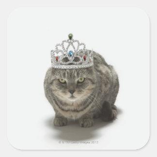 ティアラを身に着けている猫 スクエアシール