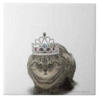 ティアラを身に着けている猫 タイル