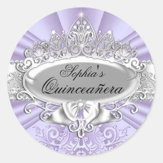 ティアラ及びダマスク織のキンセアニェラの紫色のステッカー ラウンドシール