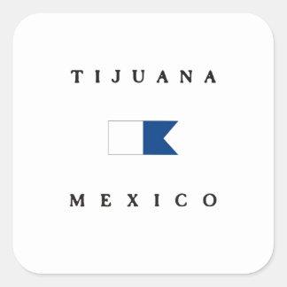 ティフアナメキシコのアルファ飛び込みの旗 スクエアシール