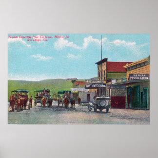ティフアナ場面のために出発している観光客 ポスター