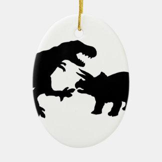 ティラノサウルスおよびトリケラトプスb セラミックオーナメント