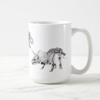 ティラノサウルス・レックスのレックスおよびトリケラトプス コーヒーマグカップ