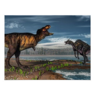 ティラノサウルス・レックスのレックスおよびsaurolophusの恐竜 ポスター