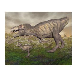 ティラノサウルス・レックスのレックスの恐竜のミイラおよび赤ん坊3Dは描写します ウッドウォールアート