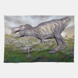 ティラノサウルス・レックスのレックスの恐竜のミイラおよび赤ん坊3Dは描写します キッチンタオル