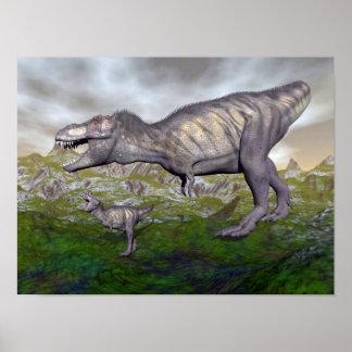ティラノサウルス・レックスのレックスの恐竜のミイラおよび赤ん坊3Dは描写します ポスター