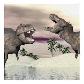 ティラノサウルス・レックスのレックスの恐竜の戦い- 3Dは描写します アクリルウォールアート