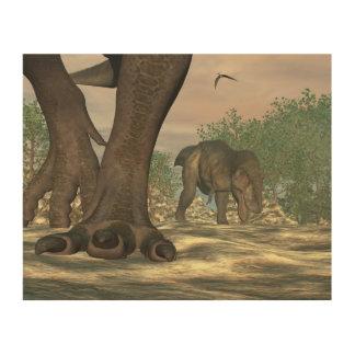 ティラノサウルス・レックスのレックスの恐竜の足- 3Dは描写します ウッドウォールアート