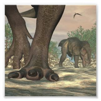 ティラノサウルス・レックスのレックスの恐竜の足- 3Dは描写します フォトプリント