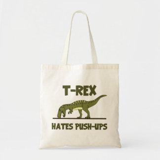 ティラノサウルス・レックスのレックスの恐竜はプッシュ・アップを憎みます トートバッグ