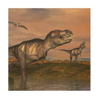 ティラノサウルス・レックスのレックスの恐竜- 3Dは描写します ウッドウォールアート