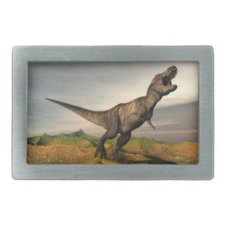 ティラノサウルス・レックスのレックスの恐竜- 3Dは描写します 長方形ベルトバックル