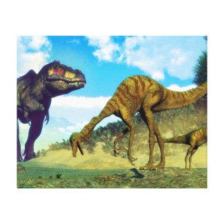 ティラノサウルス・レックスのレックスの意外なgallimimusの恐竜 キャンバスプリント