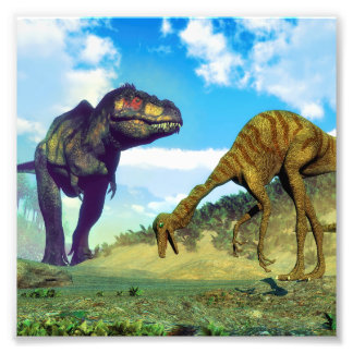 ティラノサウルス・レックスのレックスの意外なgallimimusの恐竜 フォトプリント