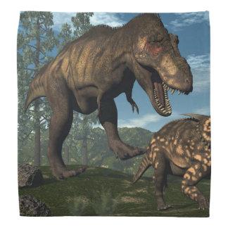 ティラノサウルス・レックスのレックスの攻撃のeiniosaurusの恐竜 バンダナ