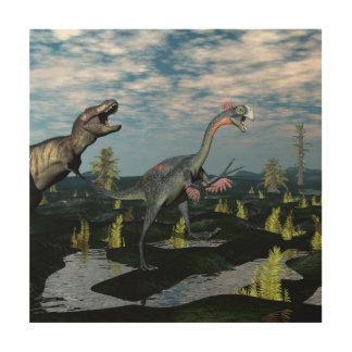 ティラノサウルス・レックスのレックスの攻撃のgigantoraptorの恐竜 ウッドウォールアート