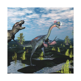 ティラノサウルス・レックスのレックスの攻撃のgigantoraptorの恐竜 キャンバスプリント