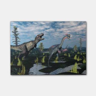 ティラノサウルス・レックスのレックスの攻撃のgigantoraptorの恐竜 ポストイット
