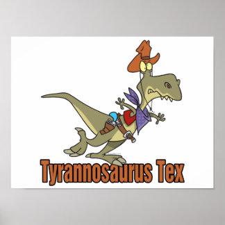 ティラノサウルス・レックスのレックスのtexのカウボーイの恐竜 ポスター