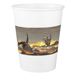 ティラノサウルス・レックスの恐竜のexctinction - 3Dは描写します 紙コップ