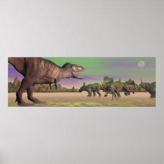 ティラノサウルス・レックスの攻撃のスティラコサウルス- 3Dは描写します ポスター