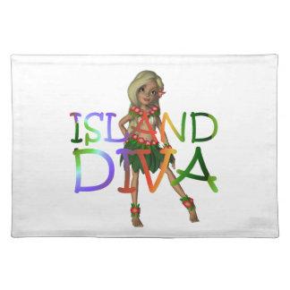 ティーの島の花型女性歌手 ランチョンマット