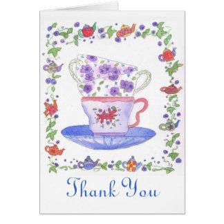 ティーカップの積み重ねの茶時間は感謝していしています カード