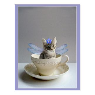 ティーカップの郵便はがきのかわいい子ネコ ポストカード