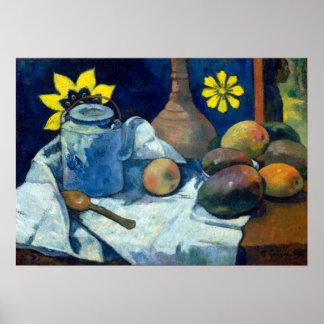 ティーポットおよびフルーツが付いているポール・ゴーギャンの静物画 ポスター