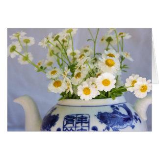 ティーポットのデイジーの花束 カード