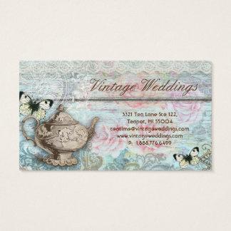 ティーポットのバラのアンティークの蝶を結婚するヴィンテージ 名刺