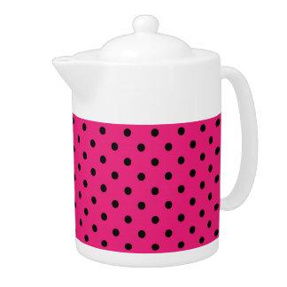 ティーポットの水玉模様のピンクおよび黒