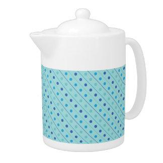ティーポットの水玉模様の青