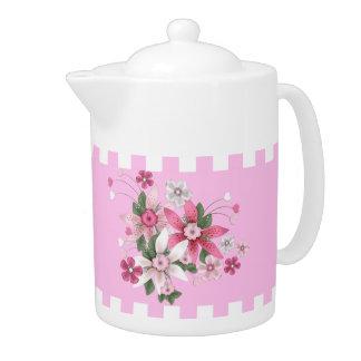 ティーポットの花の国スタイルのピンクの白い点検