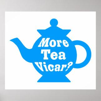 ティーポット-より多くの茶教区牧師か。 -中間の青および白い ポスター