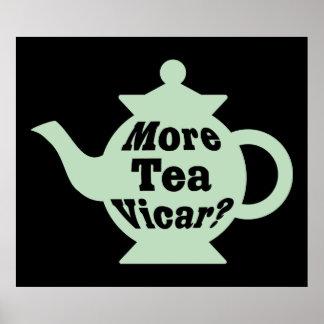 ティーポット-より多くの茶教区牧師か。 -薄緑および黒い ポスター