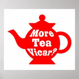 ティーポット-より多くの茶教区牧師か。 -赤と白 ポスター