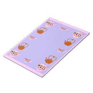 ティーポット、ティーカップおよびやかんのメモ帳 ノートパッド