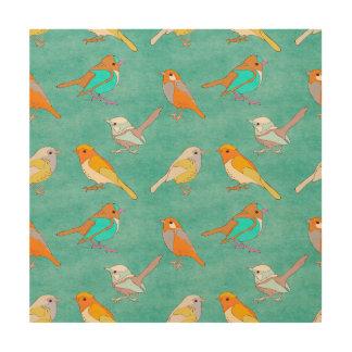 ティール(緑がかった色)およびオレンジカラフルな鳥パターンターコイズ ウッドウォールアート
