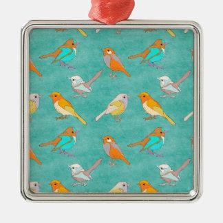ティール(緑がかった色)およびオレンジカラフルな鳥パターンターコイズ メタルオーナメント