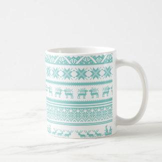 ティール(緑がかった色)およびベージュ醜いクリスマスのセーターパターン コーヒーマグカップ