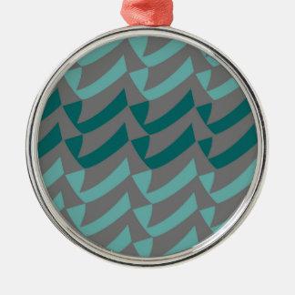ティール(緑がかった色)および水の灰色の点検 メタルオーナメント