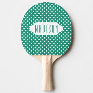 ティール(緑がかった色)および白い水玉模様のカスタムの卓球ラケット 卓球ラケット