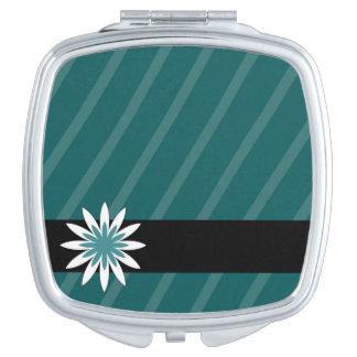 ティール(緑がかった色)および白い花のストライブ柄のコンパクトの鏡
