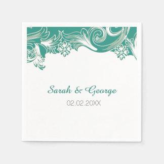 ティール(緑がかった色)および白い花の春の結婚式のデザイン スタンダードカクテルナプキン