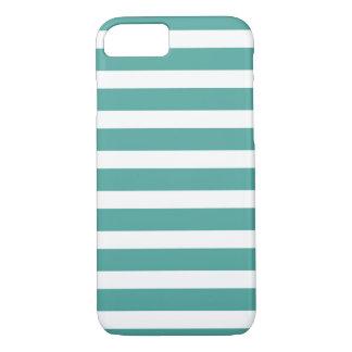 ティール(緑がかった色)および白くストライプのな電話箱 iPhone 8/7ケース