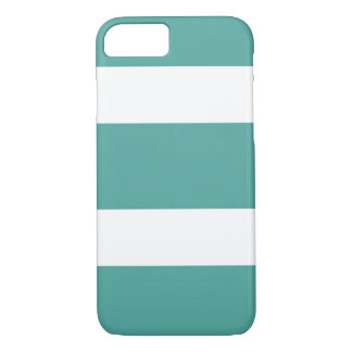 ティール(緑がかった色)および白く広くストライプのな電話箱 iPhone 8/7ケース
