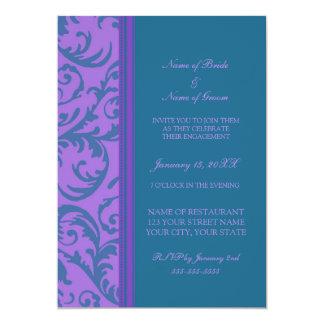 ティール(緑がかった色)および紫色の写真の婚約パーティの招待状 カード