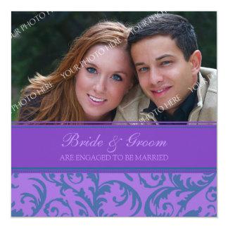 ティール(緑がかった色)および紫色の写真の婚約パーティの招待状 13.3 スクエアインビテーションカード